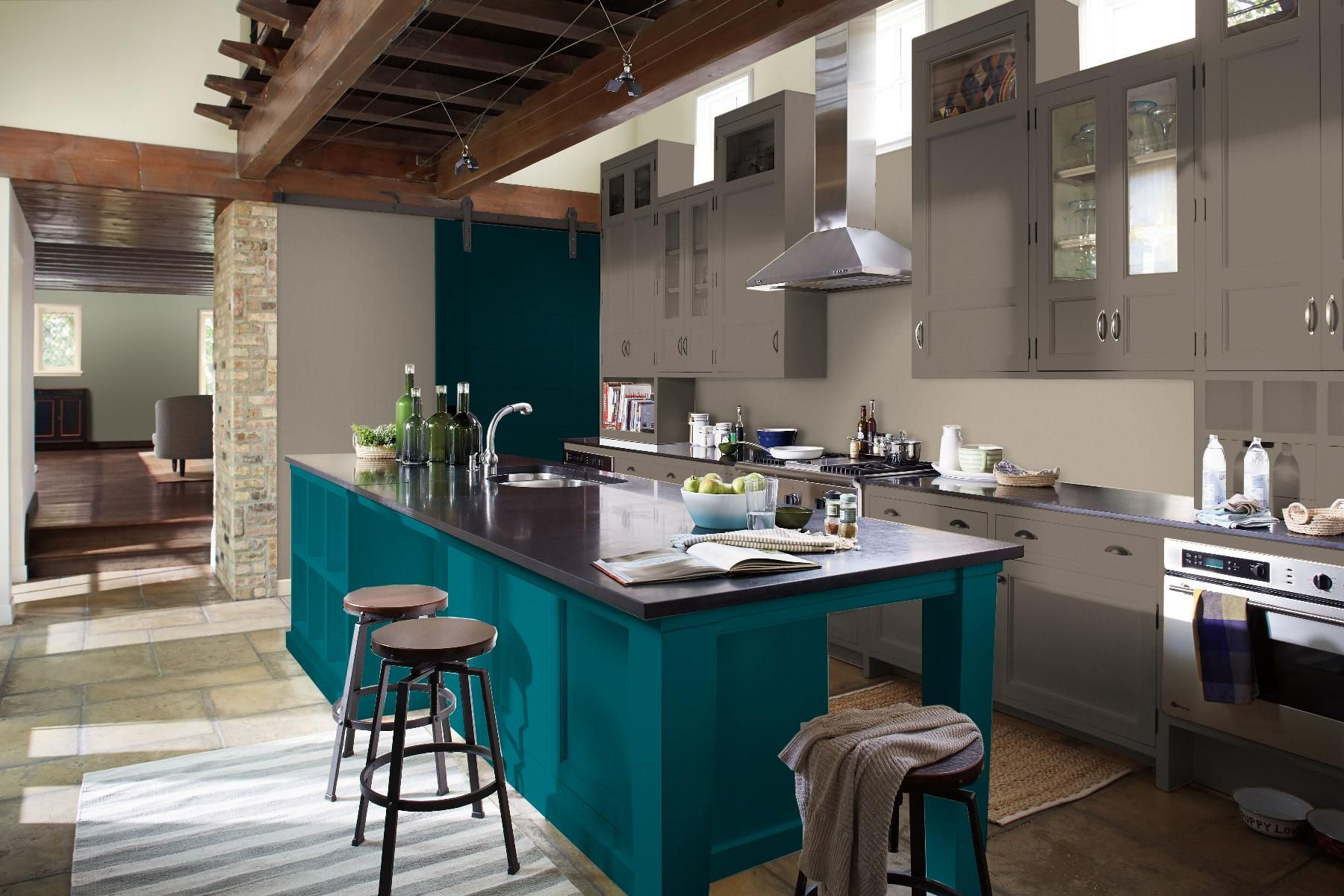 Dark Grey Cabinets With Teal Island Purple Kitchen Purple Kitchen Cabinets Teal Kitchen Cabinets