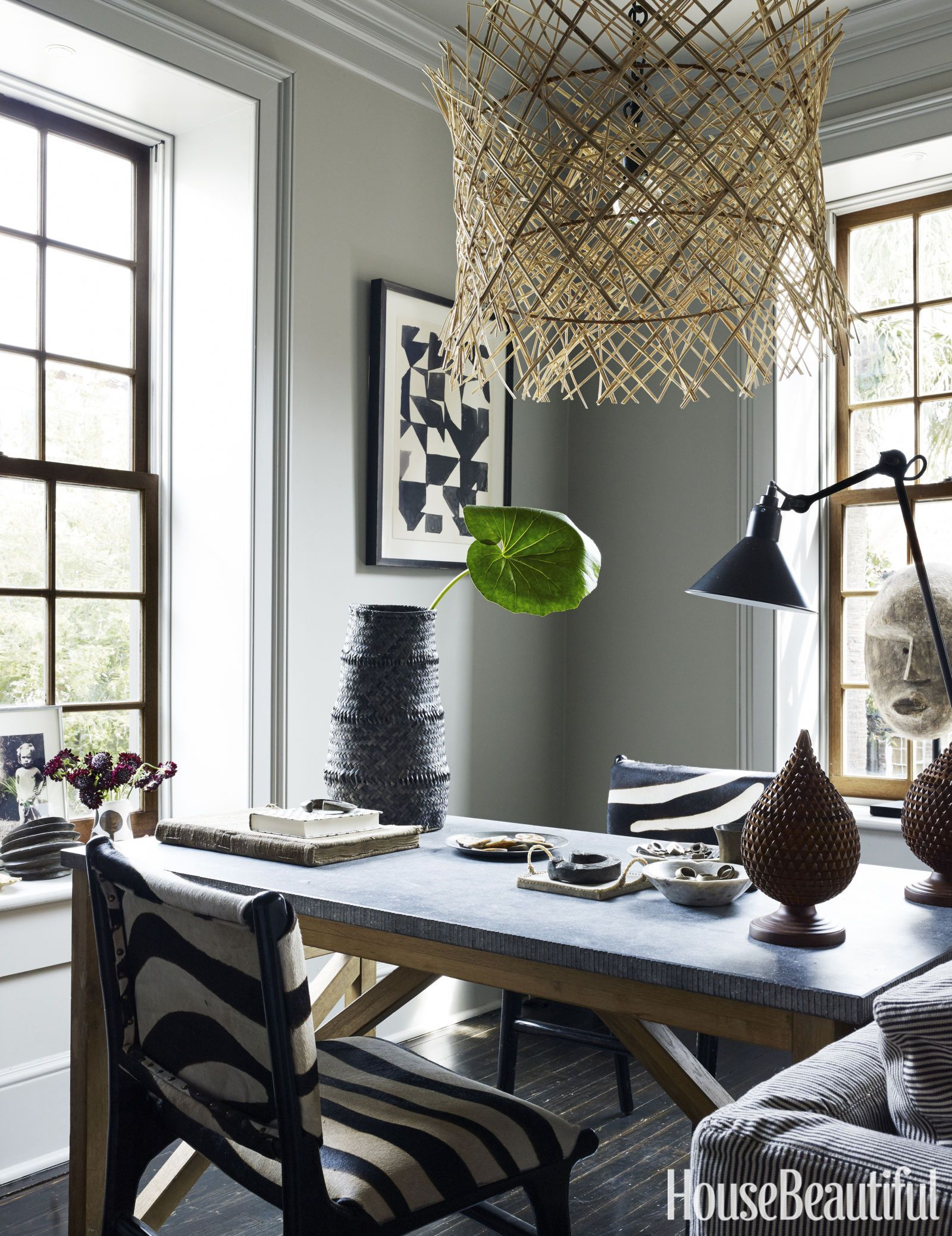 Home Office The Black And White Motif Extends Into Zebra Print Chairs Are Flea Market Finds From France