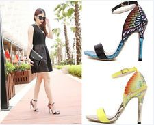 New Women's Sexy High Heels Celebrity Peacock Pattern Sandals Pumps Party Shoes