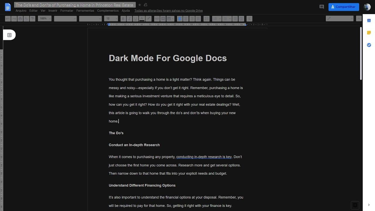 How to enable dark mode in google documents em 2020
