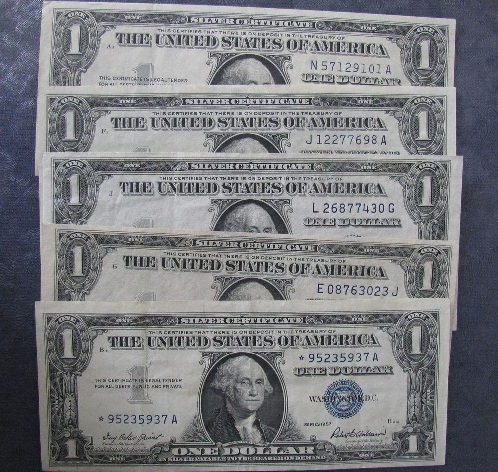 (5) Five 1957 Crisp $1 Silver Certificates; High Grade Notes