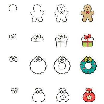 Photo of Christmas doodles, gingerbread man doodles, gift doodles, wreath doodles. Mint…
