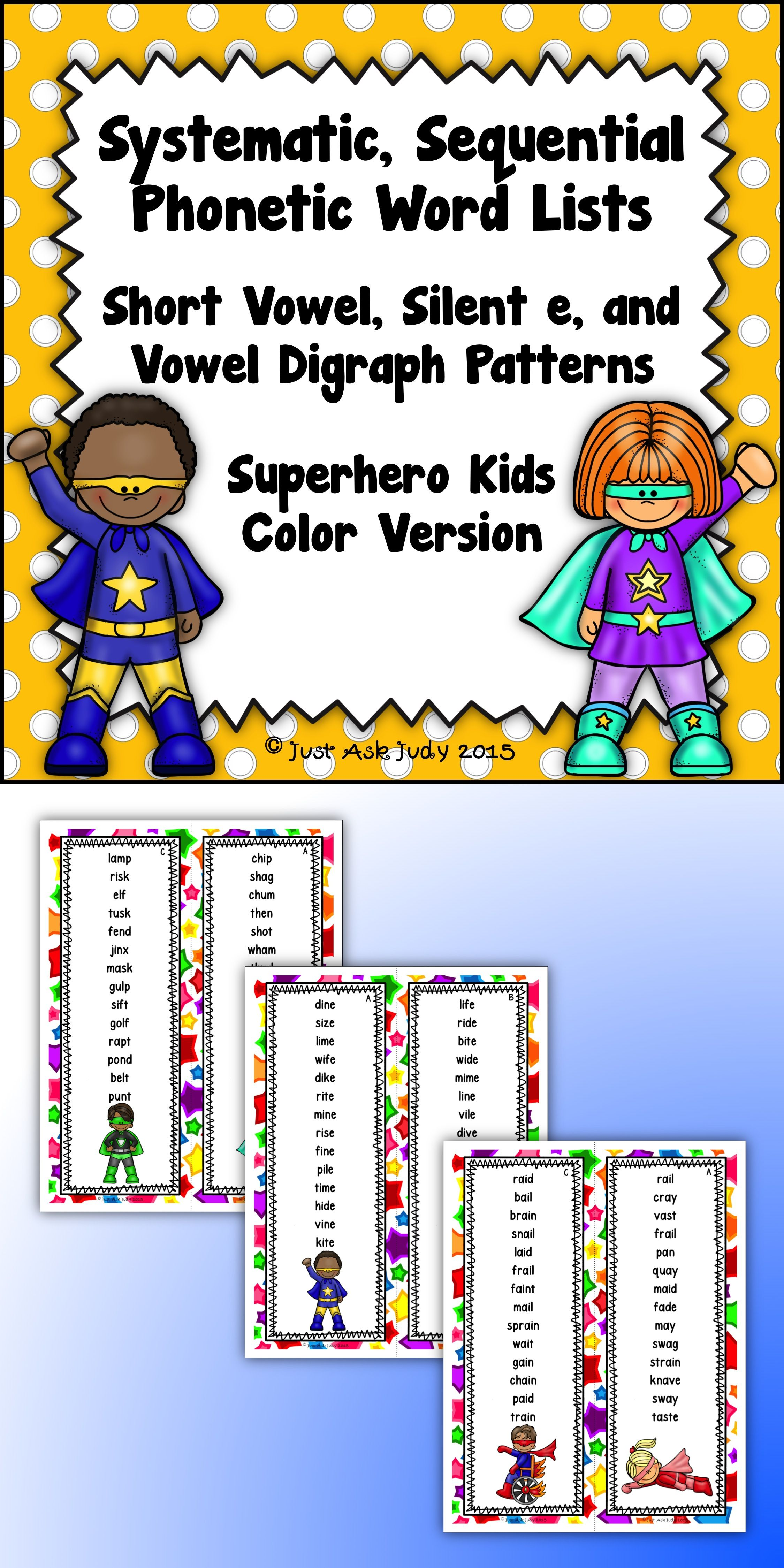 Phonics Word Lists With Short Vowel Silent E And Long