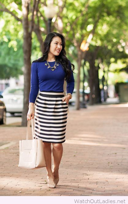 Navy sweater and black white striped pencil skirt