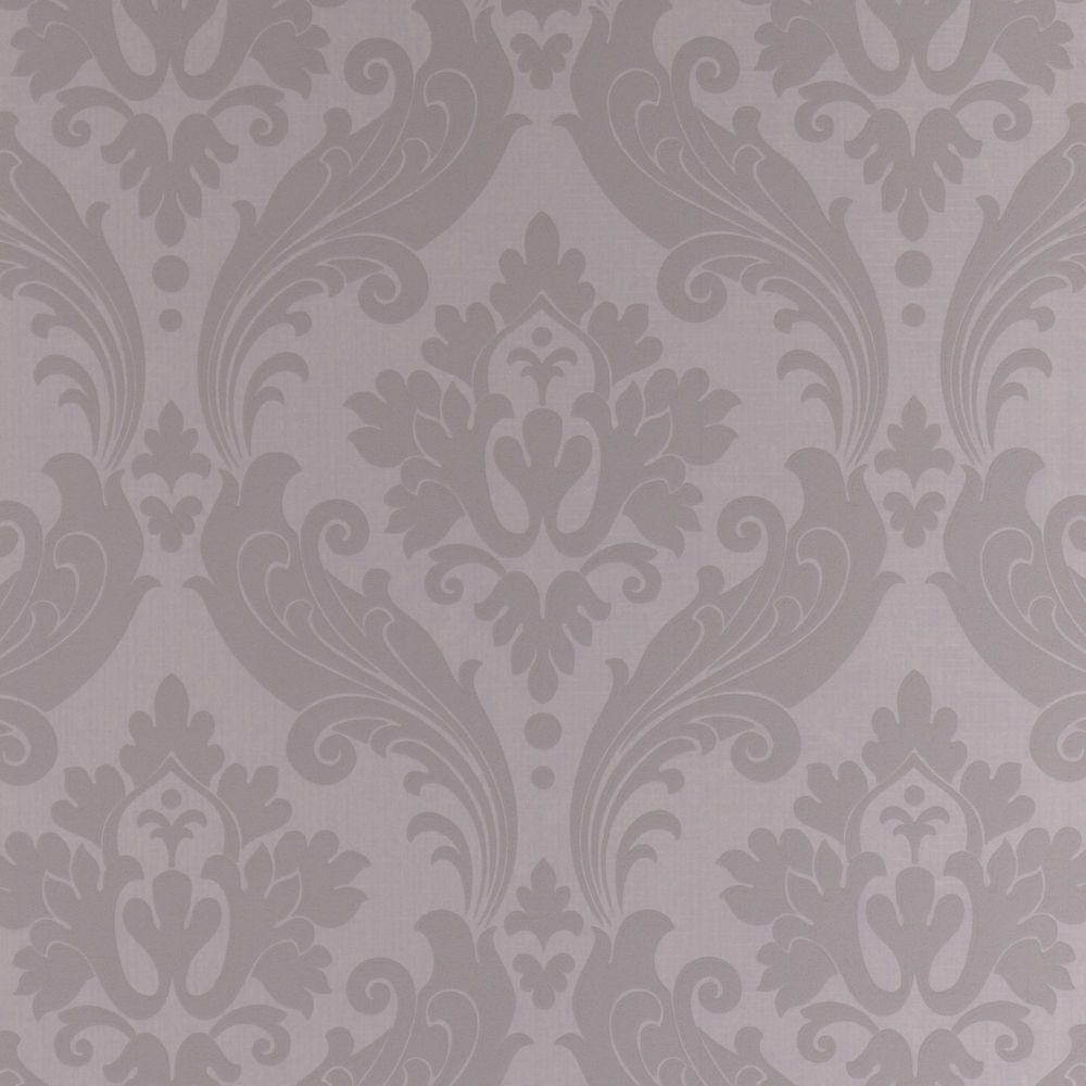 Vintage Flock Grey Wallpaper Textured Wallpaper Grey Wallpaper