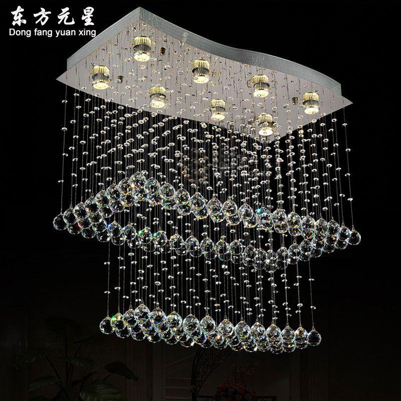 crystal chandelier led light staircase lamp rain drop flush mount