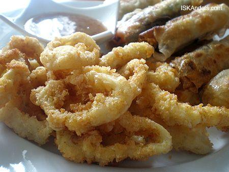 Thai Deep Fried Calamari Recipe | kiddo – deep-fried calamari and spring rolls. The crusty calamari ...