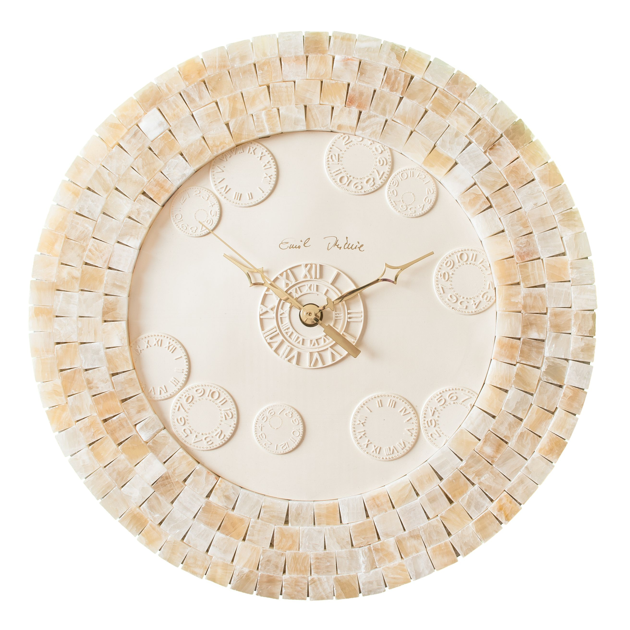 A Wall Clock To Love The Handmade One Of A Kind Giallo Crystal Onyx Mosaic Wall Clock Find All Unique Clocks Fro How To Make Wall Clock Wall Clock Onyx Tile