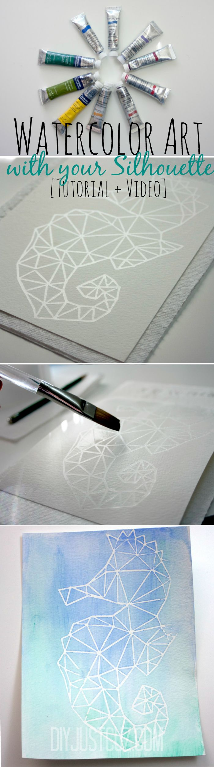 Create beautiful watercolor art pieces with your Silhouette! With just a few supplies & your Silhouette, you can have unique artwork in just a few minutes! @diyjustcuz