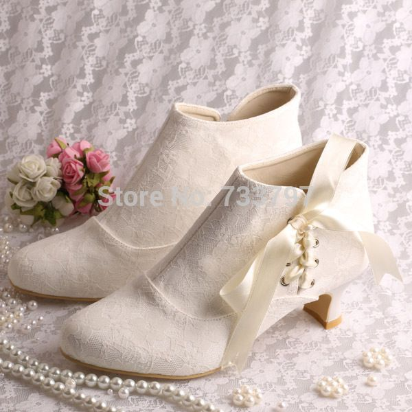 MINITOO Womens Square Toe High Heel Ribbon Bridal Wedding Lace Ankle Boots Shoes