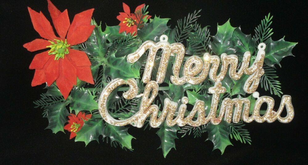 Vintage Plastic Glitter Merry Christmas Holly Poinsettia Door Wall Decoration Christmas Holly Merry Christmas Vintage Christmas