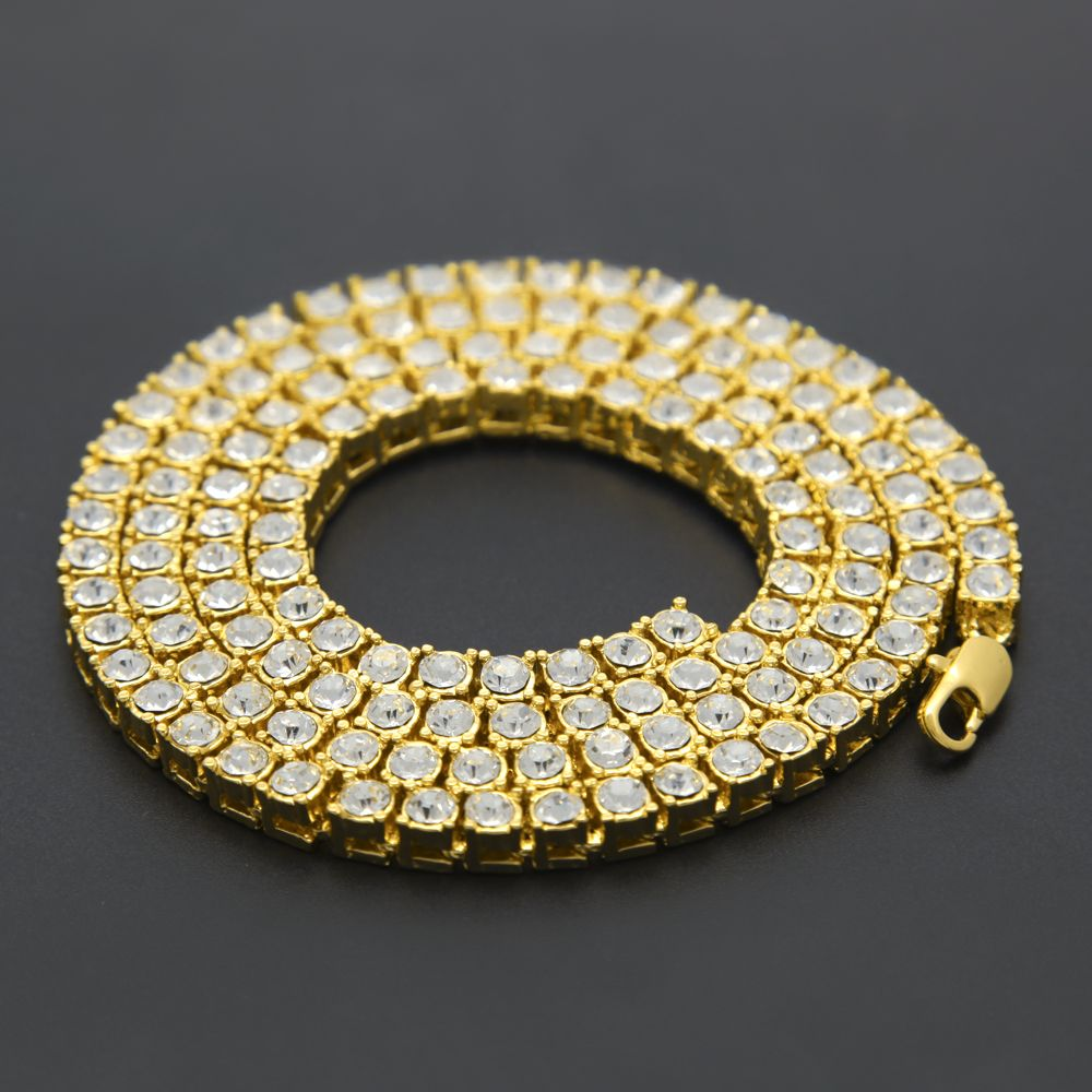 Menus hip hop bling bling iced out tennis chain row necklaces