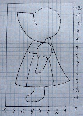 Тихая комната: Крошка Сью. Рисунок (схема) и выкройка. Аппликация на ткани. #sunbonnetsue