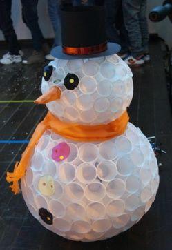 Faire un bonhomme de neige avec des gobelets en plastique gobelet en plastique gobelet et - Comment faire un bonhomme de neige en gobelet ...