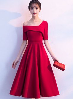 Fashion Asymmetric Neck Slim Prom Dress For Wedding