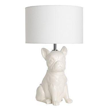 Cream Ella The Dog Lamp Table, French Bulldog Lamp