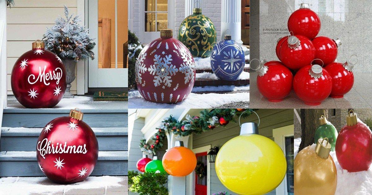 Esferas Navidenas Gigantes Dale Detalles Como Hacer Esferas Navidenas Esferas Navidenas Decoracion Exterior Navidad