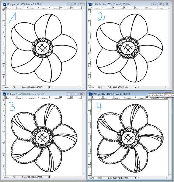flower outline details | Garabatear y enredar, ¿cómo hacerlo ...