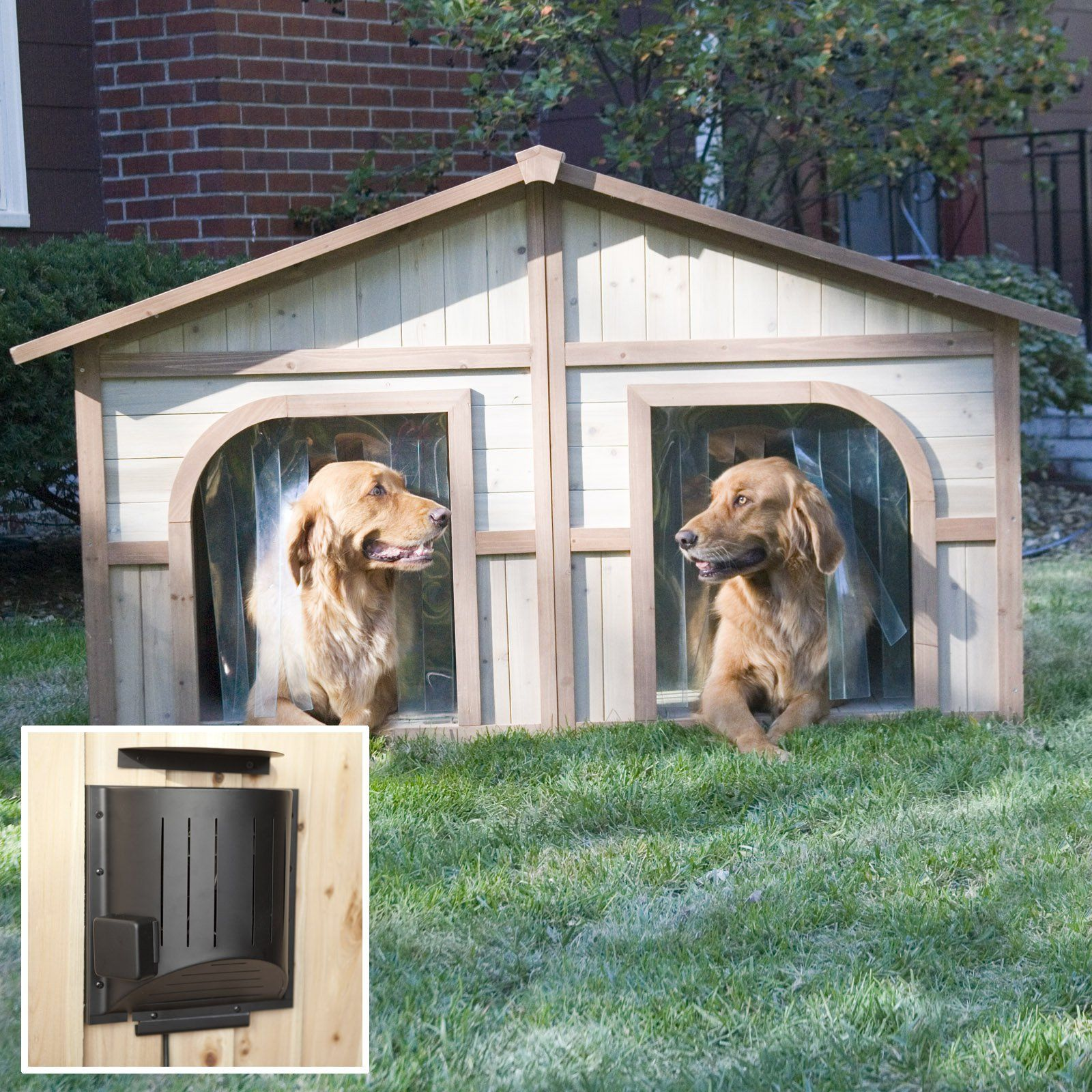 Merry Products Lighter Stain Duplex Dog House With Heater Dog House Diy Wood Dog House Outdoor Dog Bed