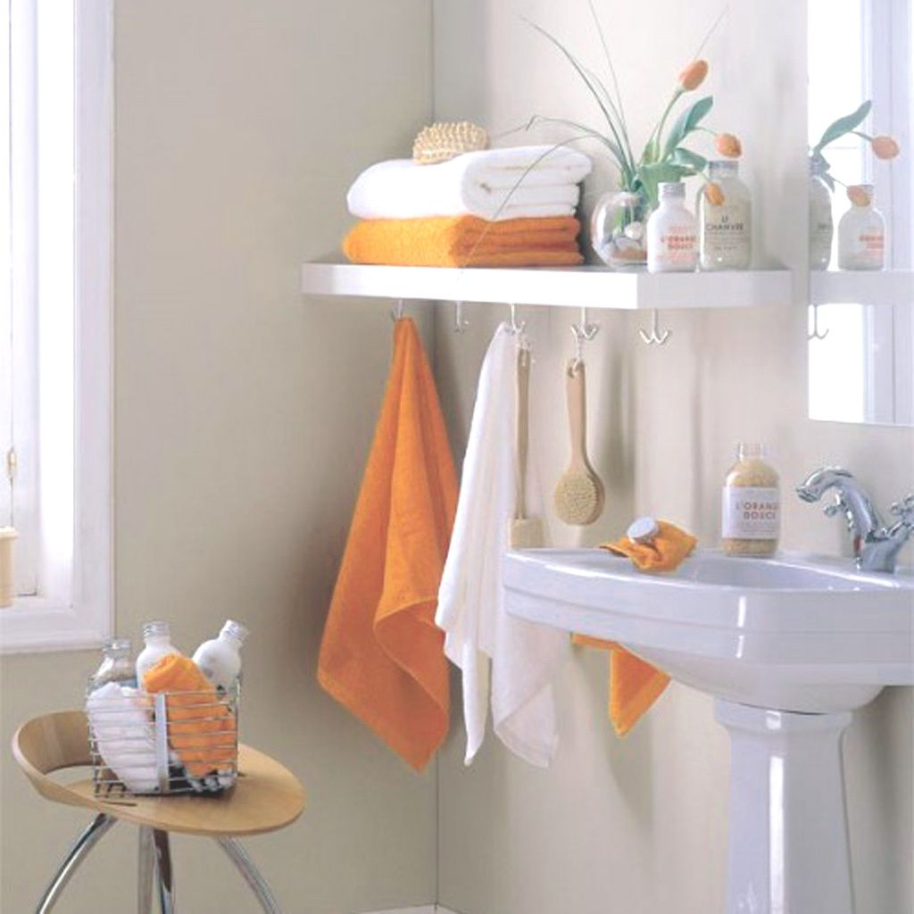 Bathroom Bathroom Towel Storage With Orange And White Towel - Towel storage shelves for small bathroom ideas