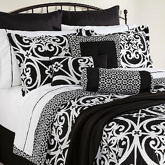 Love Black And White Bedding But I Would Add Colored Sheets With Images White Bed Set Bedding Sets White Comforter