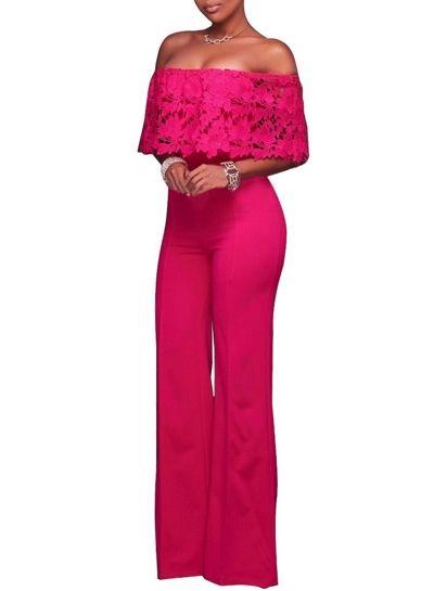 17910f0288 Women s Fashion off Shoulder Lace Solid Wide-Leg Party Jumpsuit novashe.com