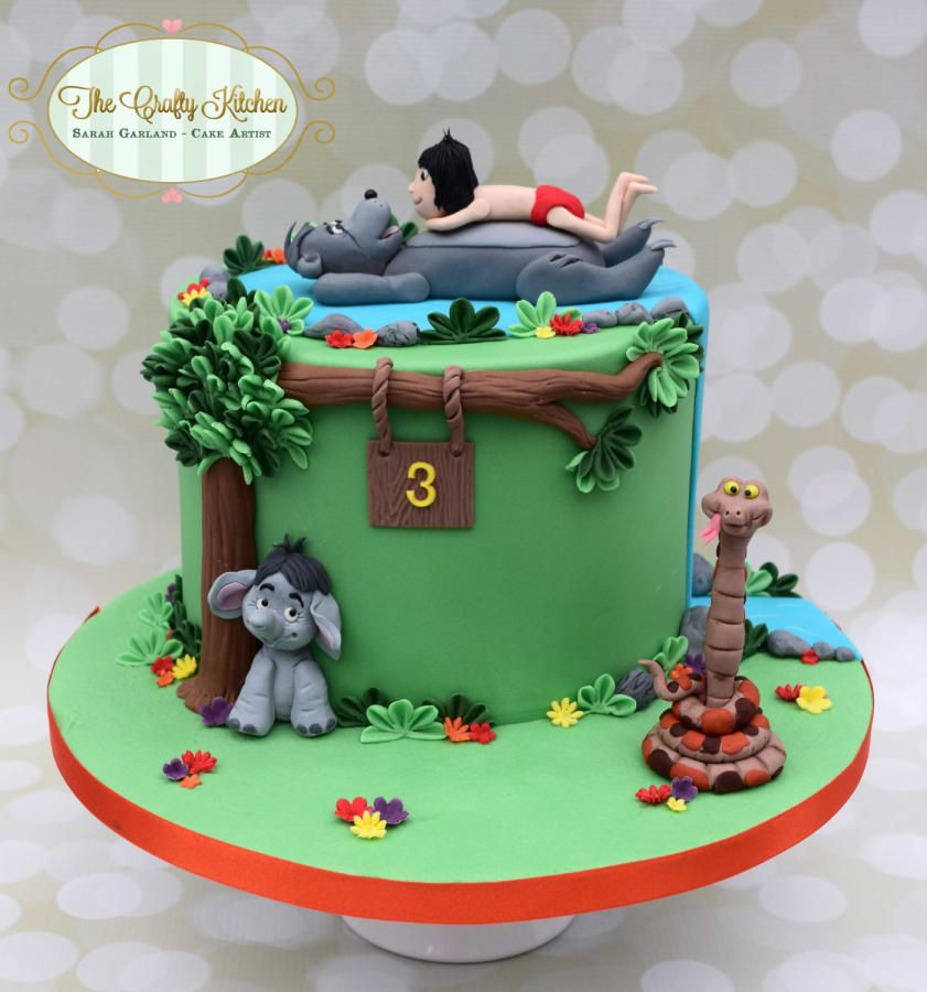 A birthday cake made for a little boy who loves Jungle Book idees