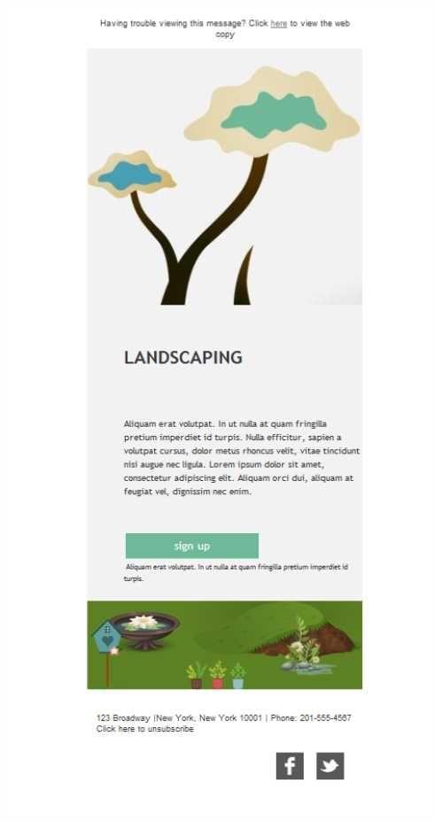 Versión responsive de plantillas newsletter para servicios de paisajismo. Deja volar tu imaginación, los diseñadores de exteriores están de suerte, ¡hay campañas de emailing para todos!