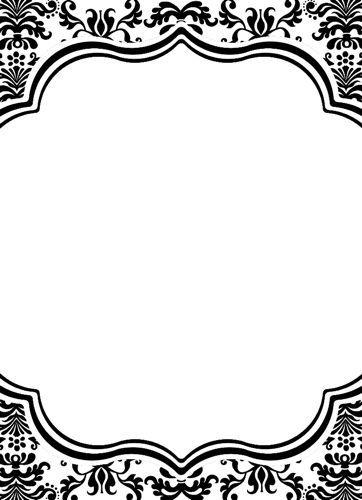 black white damask invitations and menu cards by bella cupcake