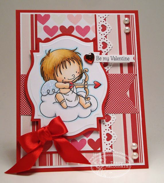 super cute handmade Valentine ... Copic coloring ... die cut label for image ... little cupid aiming his bow ... cute details ...