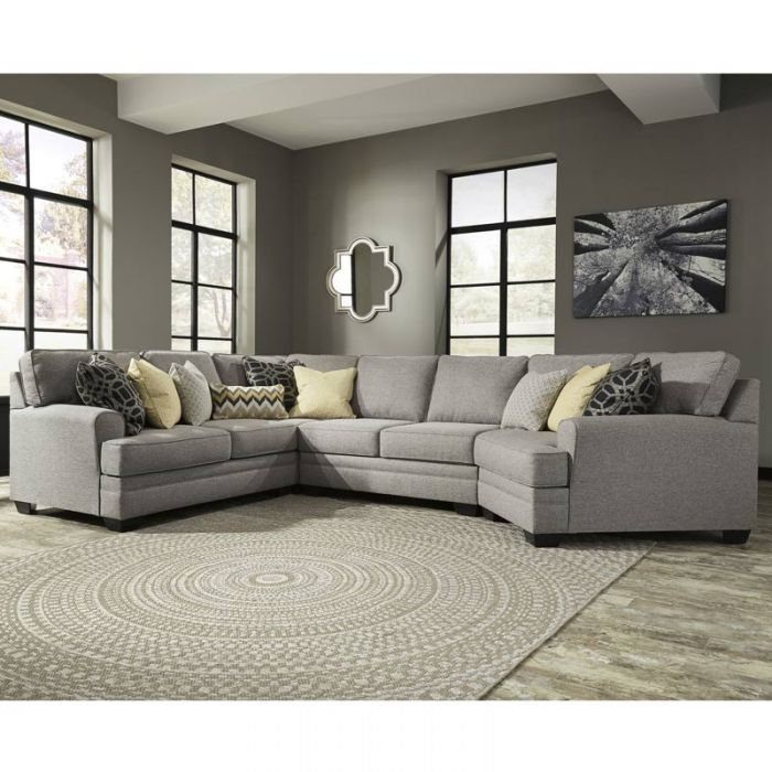 The Ashley Cresson Gray Sectional With Cuddler From Ashley