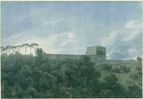 View of the Villa Lante on the Janiculum (Gianicolo) in Rome, 1782–83 John Robert Cozens (British, 1752–1798) Watercolor over traces of graphite on white laid paper; 10 x 14 1/2 in. (25.3 x 36.8 cm) Rogers Fund, 1967 (67.68)