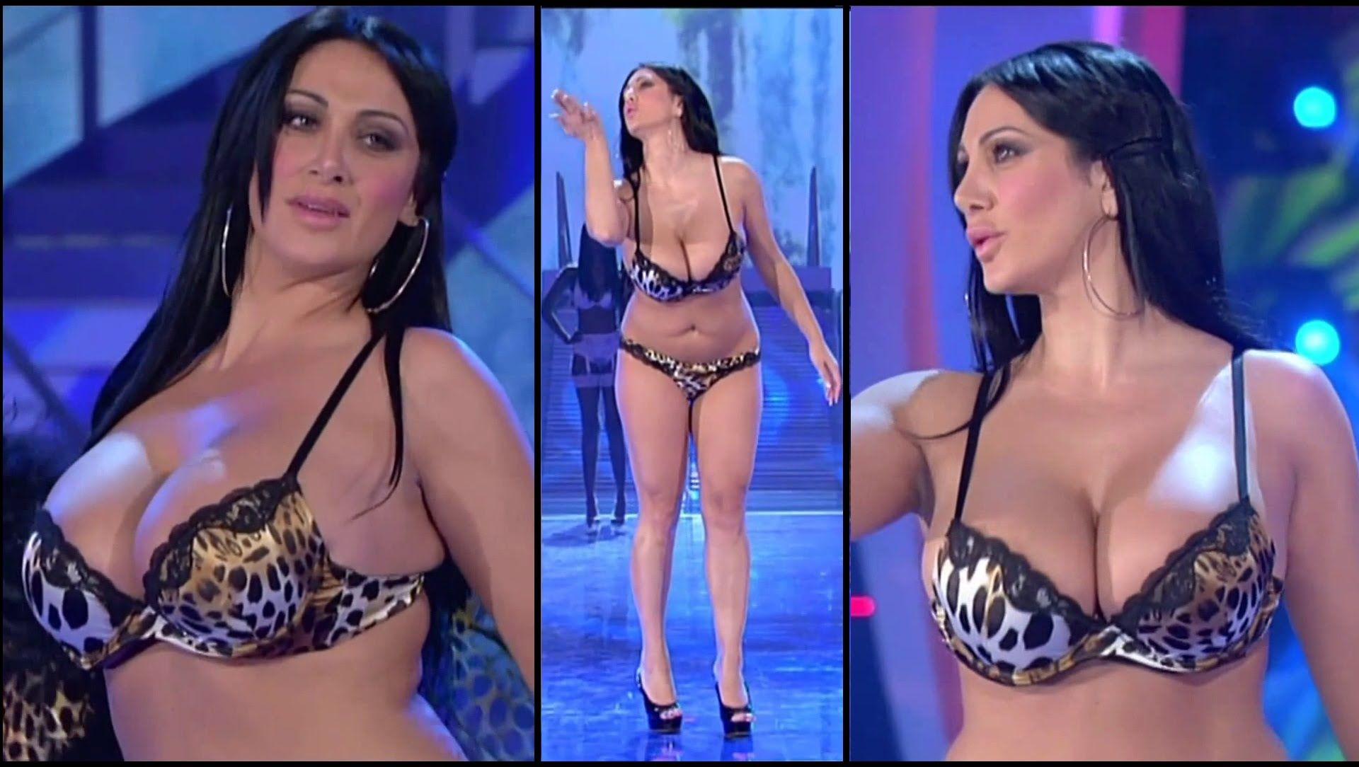 italian model in a bikini with nice big boobs | lingerie show video