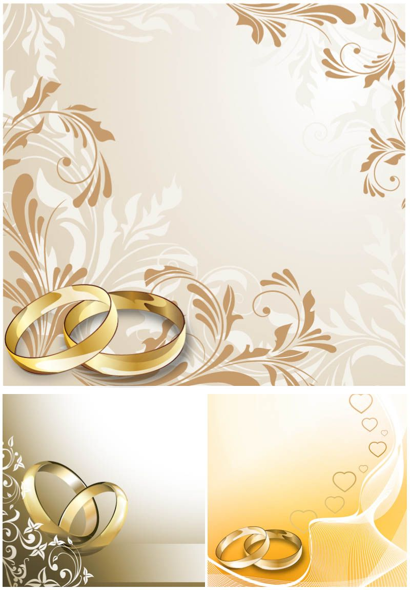Wedding Cards With Wedding Rings Vector Wedding Invitation