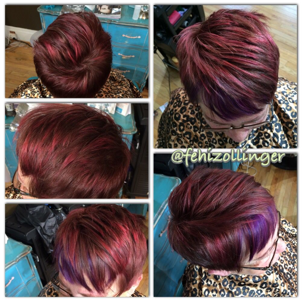 Dark Red Hair With Pink Highlights And Purple Peekaboo Fehizollinger Fehizollinger Hairbyfehi Www Facebook Artistic Hair Hair Inspiration Short Hair Styles