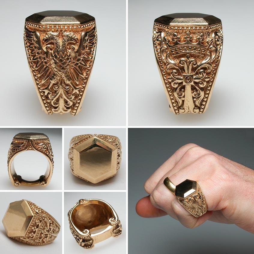 Mens Gold Signet Rings Engraved