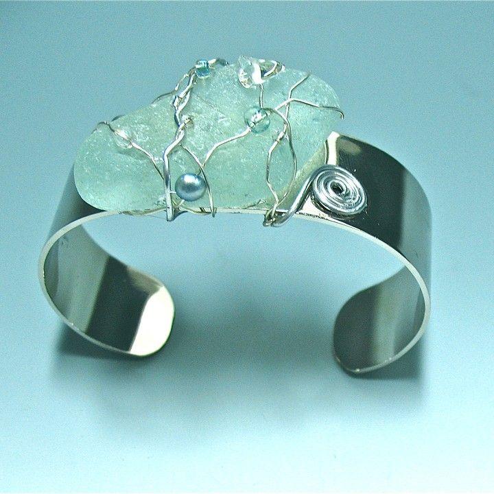 #Seafoam #Seaglass #Cuff from ODONATA SEAGLASS CREATIONS BY EILEEN CLARK for $56.00
