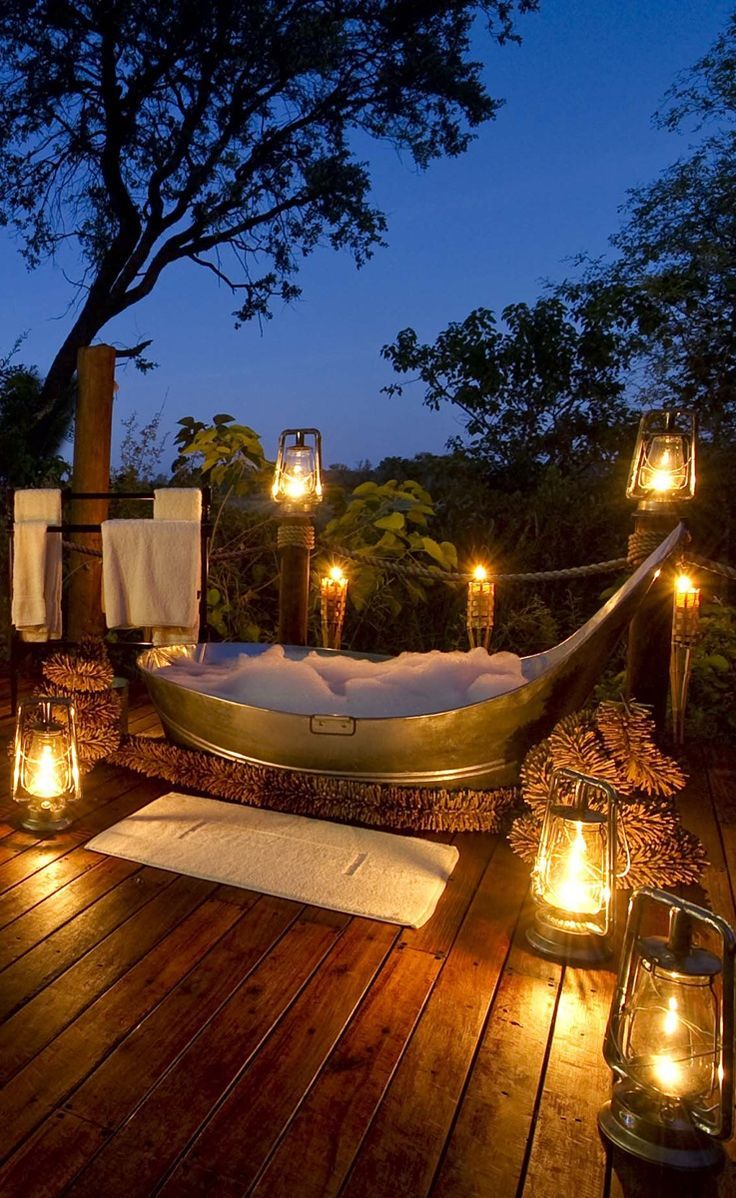 Star Bath At Sanctuary Baines Camp Africa Botswana Outdoor Tub Outdoor Bathtub Outdoor Bathrooms
