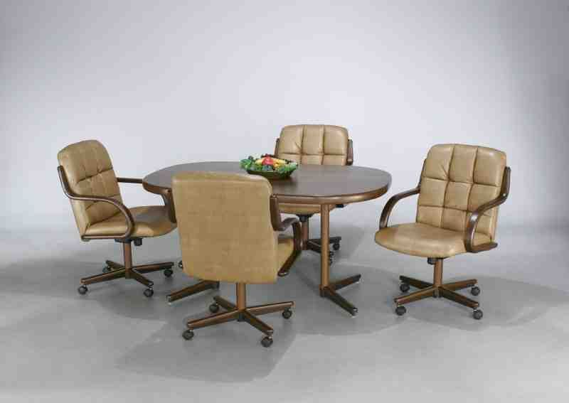 Kitchen Table And Chairs With Wheels, Leather Dining Room Chairs With Casters