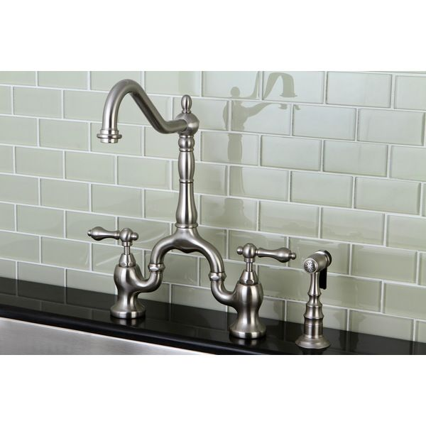 Victorian High Spout Satin Nickel Bridge Double Handle Kitchen Faucet    Overstock Shopping   Great