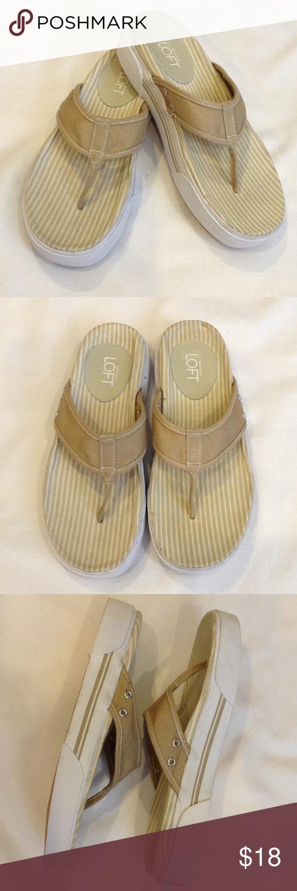 "🍭Sweet Deals🍭LOFT Canvass Flip Flop Sneaker Sole Excellent condition, beige canvass upper, stripped upper sole on 1.5"" sneaker sole. LOFT Shoes Sandals"