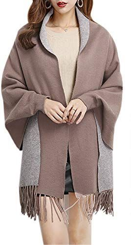 Amazing offer on QZUnique Womens Winter Pashimino Knitted Shawl Wrap Tassels Cardigan Reversible Solid Color online  New QZUnique Womens Winter Pashimino Knitted Shawl Wr...