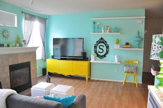Aqua And Yellow Home Decor Blue And Yellow Living Room Yellow Home Decor Yellow Living Room