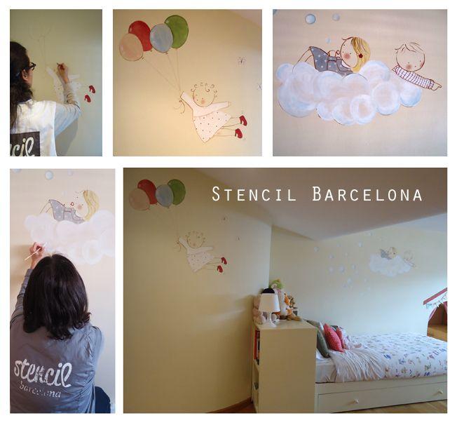 Muralesinfantiles pintados a mano por stencil barcelona murales infantiles personalizados - Habitaciones infantiles barcelona ...