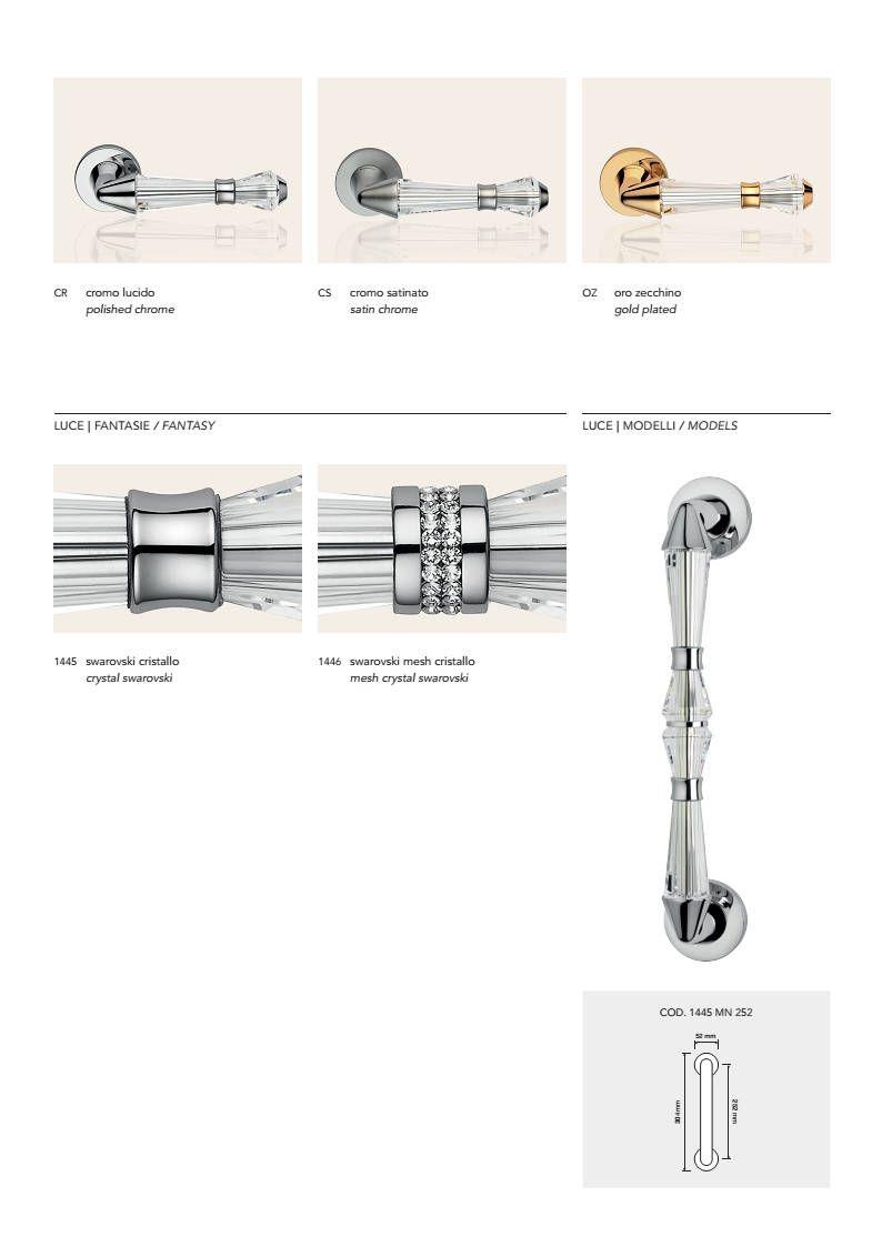 Luce Modern Brass Door Handles With Swarovski Crystal Brass Door