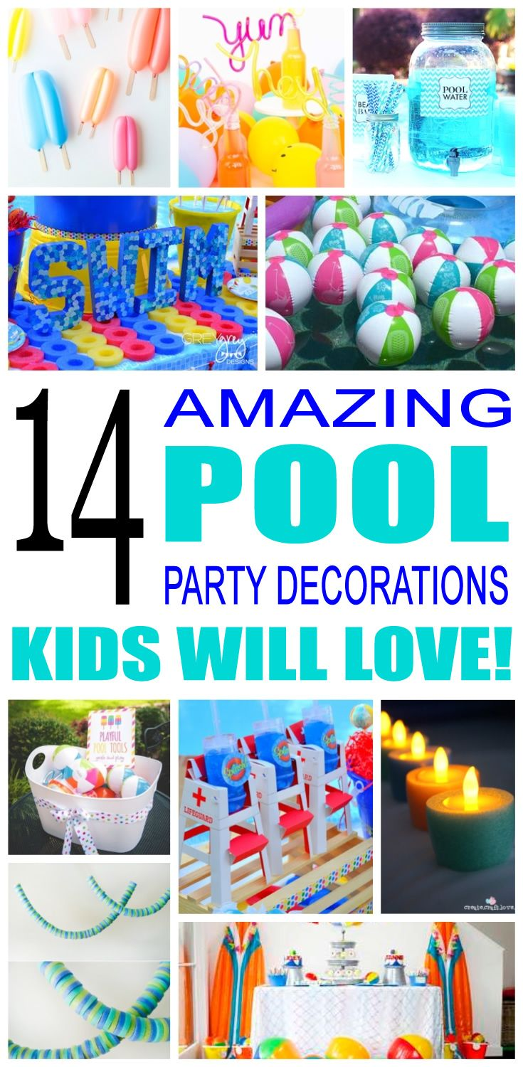 pool birthday party decorations | cool kids birthday party