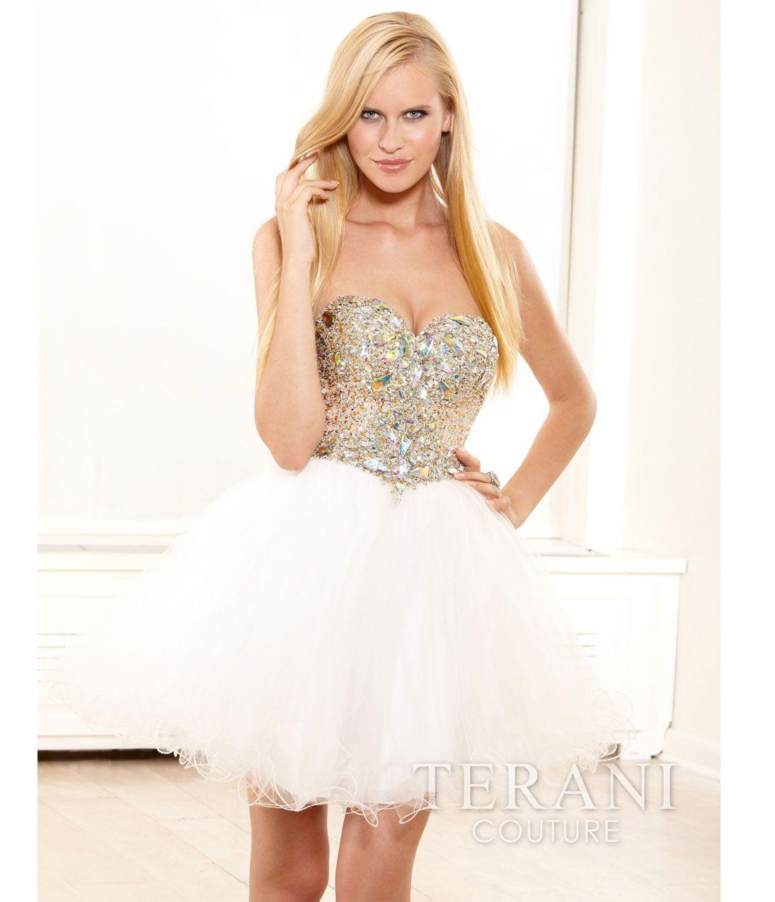 Terani 2014 Prom Dresses – Ivory Mesh & Crystal Empire Waist Short ...