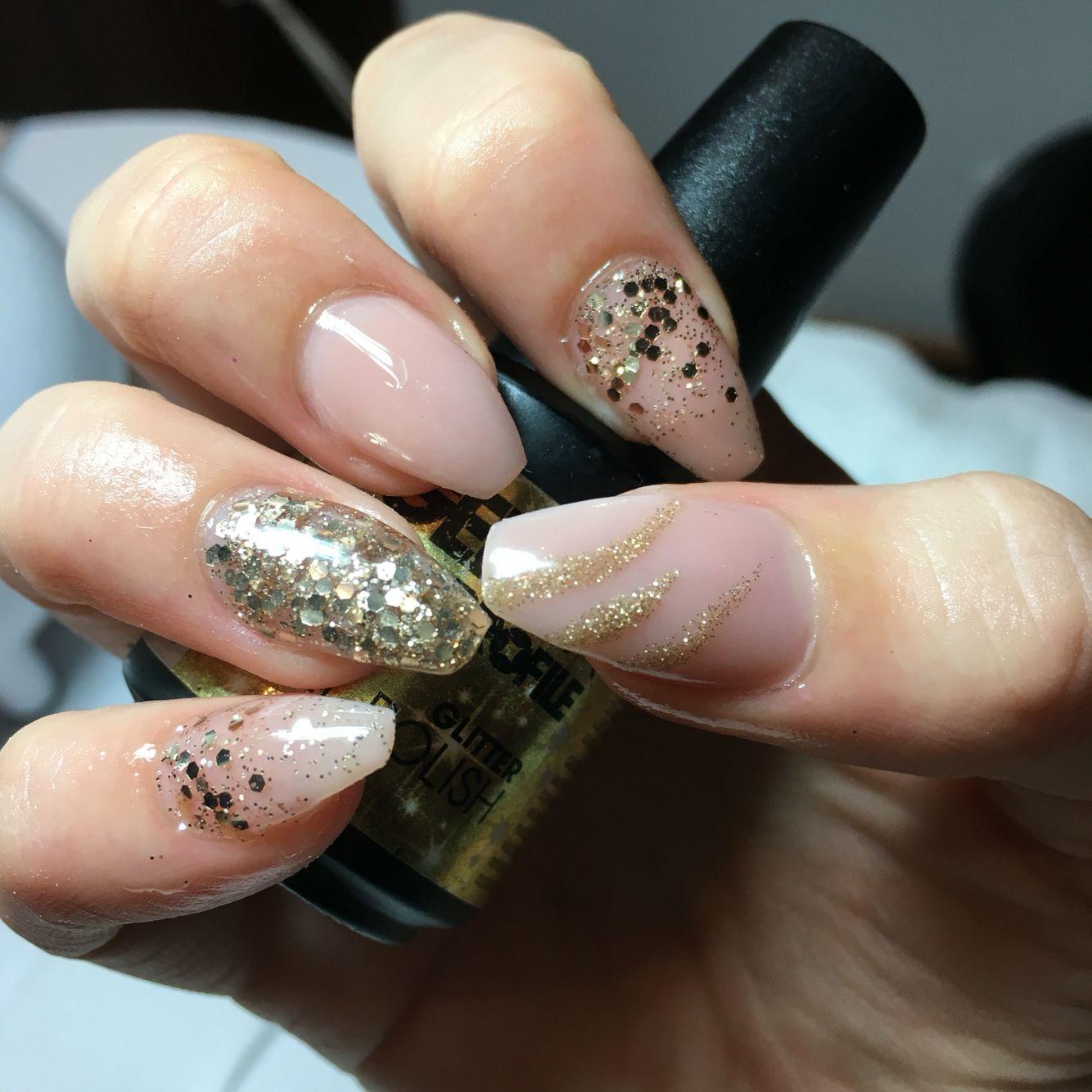 Nsi acrylic nails, no polish, home mixed acrylic glitter, gold ...