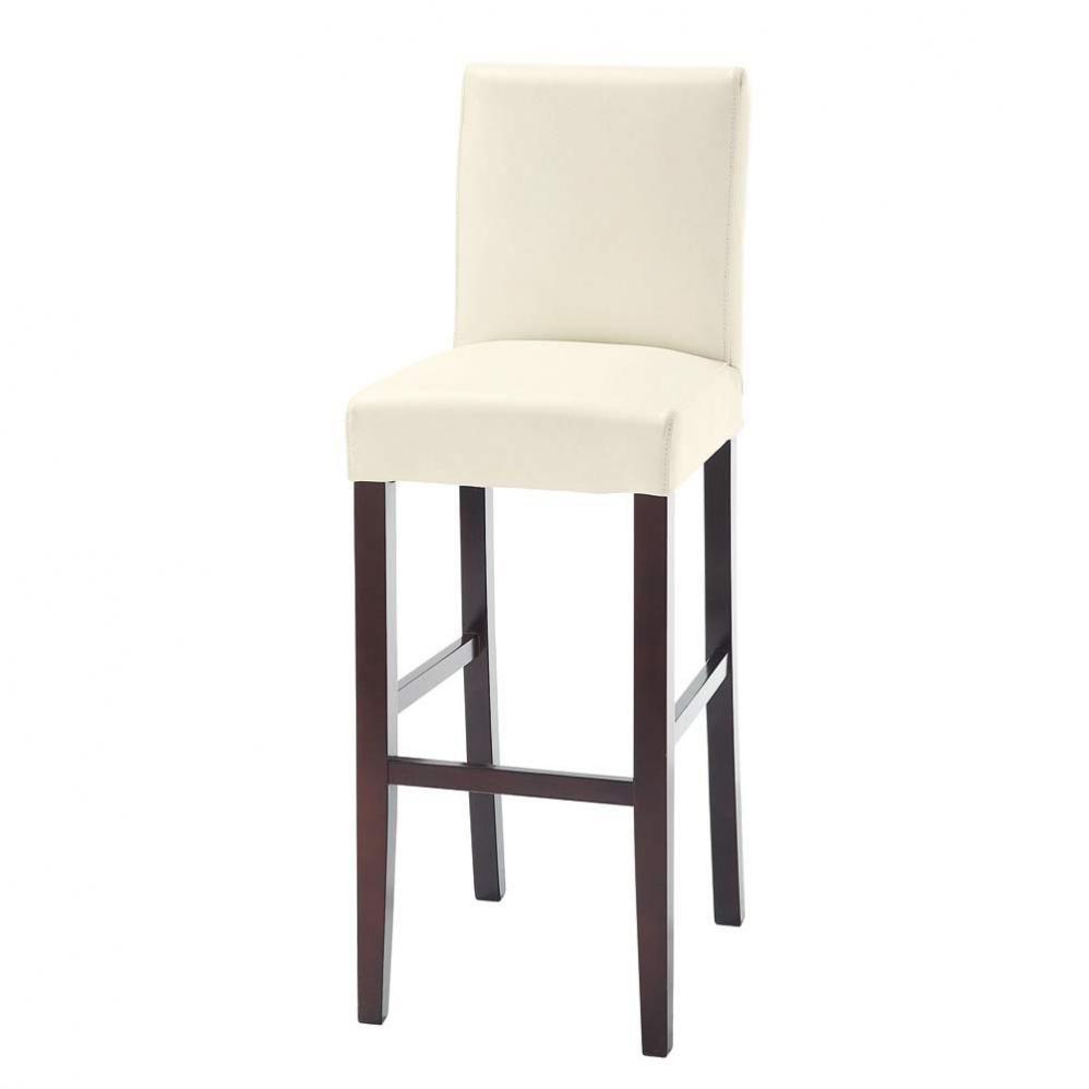Chaise de bar en tissu et bois teinté blanche Boston | maison du ...