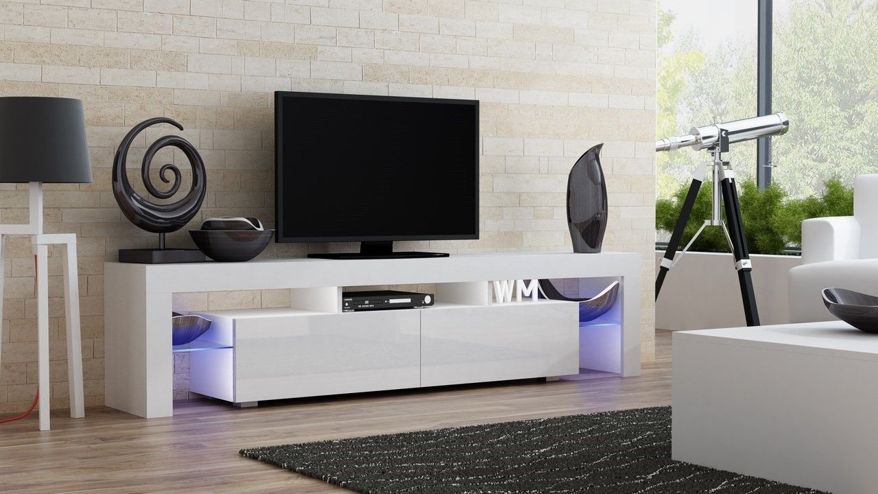 White Tv Stand Or Modern With Brick Wall And Wood Flooring Plus Gray Carpet For Living Room